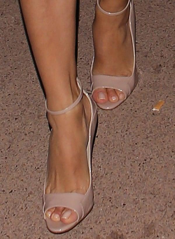 Eva Longoria wearing Brian Atwood's 'Evie' heels in nude