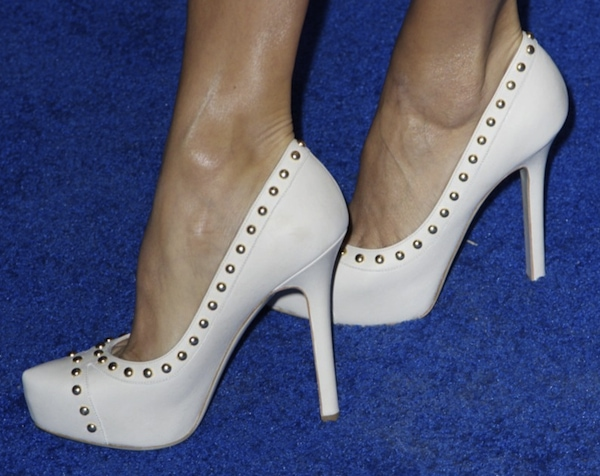 Eva Longoria in Ferragamo studded pumps for the launch of L'Icona in NYC