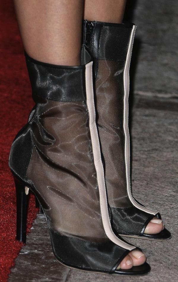 Eva Longoria in Reed Krakoff peep-toe mesh booties