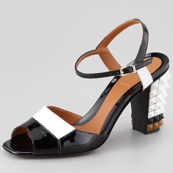 Fendi Runway Patent Pyramid Studded Heel Sandal