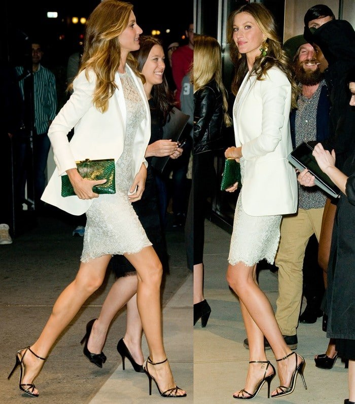 Gisele Bundchen ina white lace dress paired with a white blazer