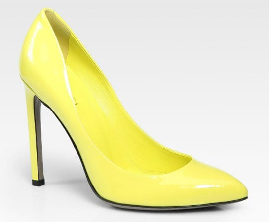 Gucci Gloria Patent Leather Pumps in Lime