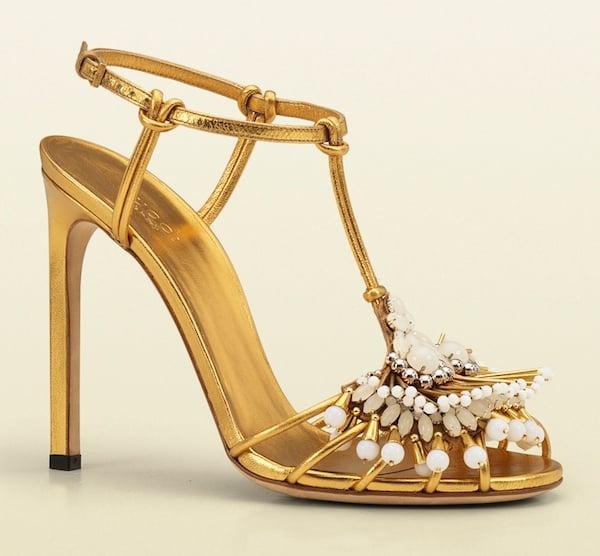 Gucci Phoebe Gold Embellished Sandals