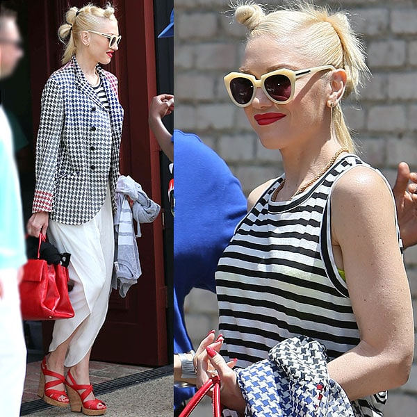 Gwen Stefani arrives at producer Joel Silver's Memorial Day Party in Malibu, California, on May 27, 2013