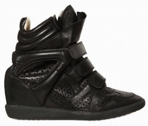 """Isabel Marant """"Baya"""" High-Top Wedge Sneakers in Black"""