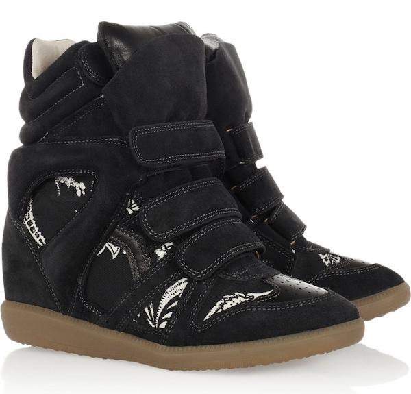 """Isabel Marant """"Bekket"""" High-Top Wedge Sneakers in Black"""