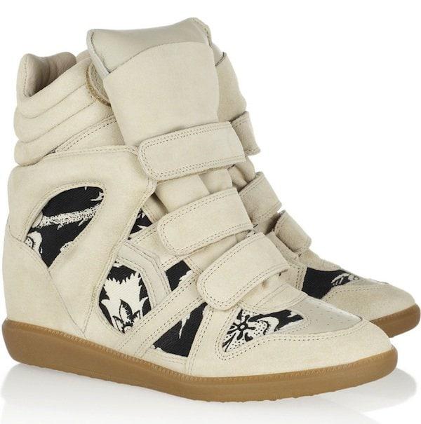 """Isabel Marant """"Bekket"""" High-Top Wedge Sneakers in White"""