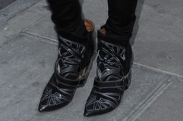 Kate Moss wearing embroidered Isabel Marant boots