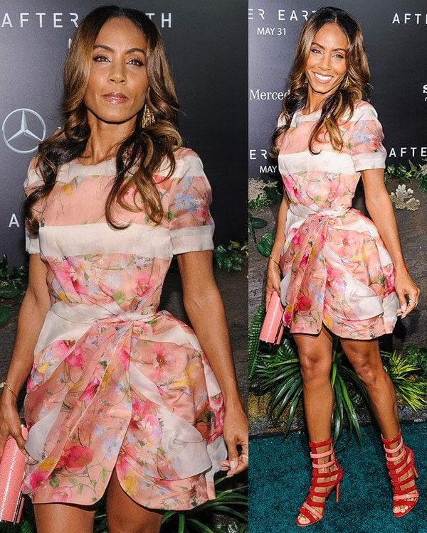 """Jada Pinkett-Smith wears a floral dress from Bluemarine to the premiere of """"After Earth"""""""