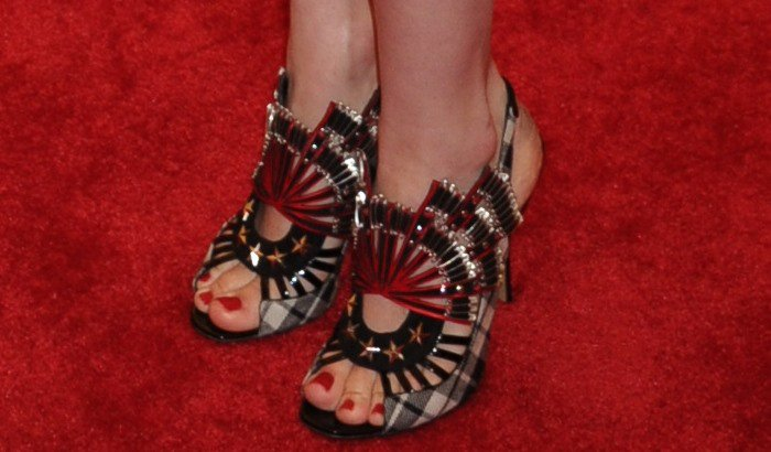 January Jones shows off her feet in Nicholas Kirkwood shoes