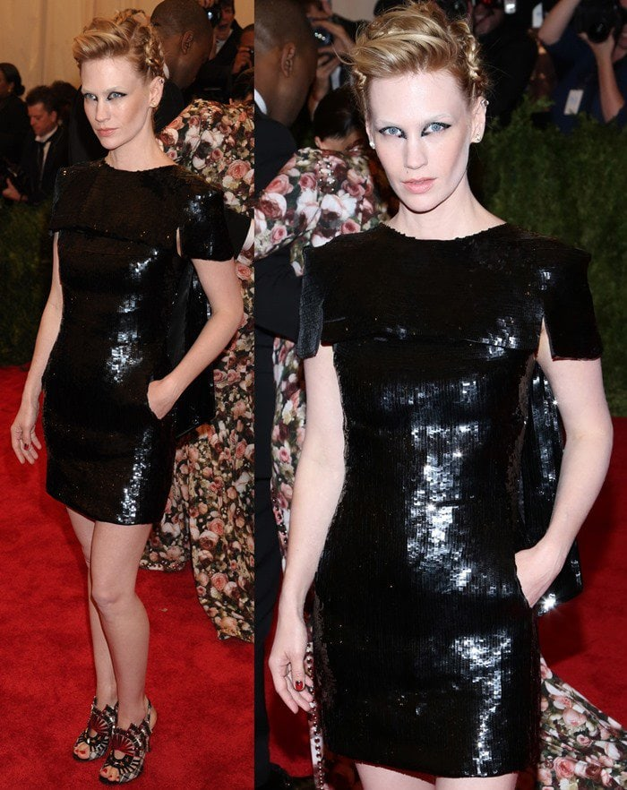 January Jones on the red carpet at the 2013 Met Gala held at the Metropolitan Museum of Art in New York City on May 6, 2013