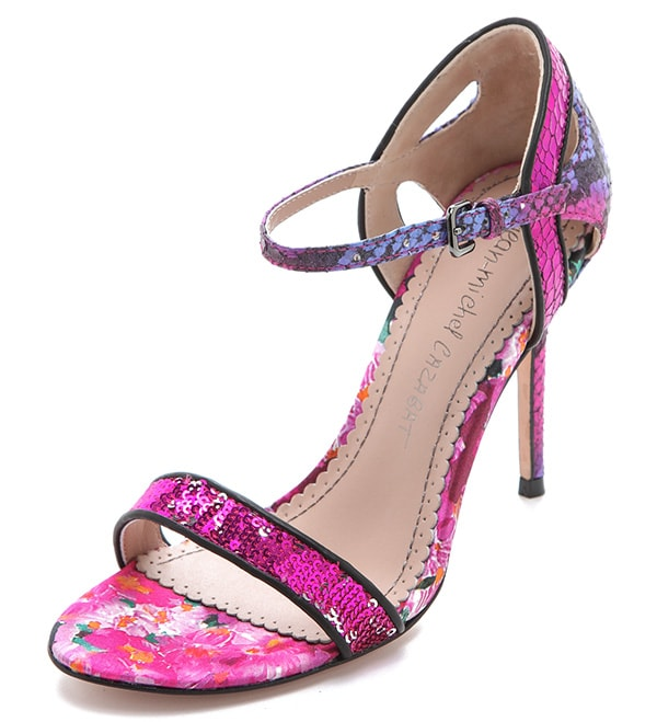 Jean-Michel Cazabat Oka Mixed Media Sandals in Fuchsia-Napoleon