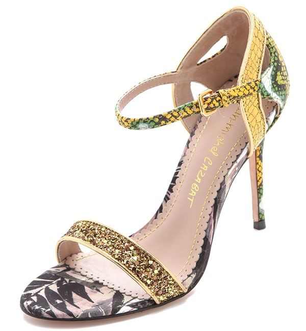 Jean-Michel Cazabat Oka Mixed Media Sandals in Oro-Yellow-Green