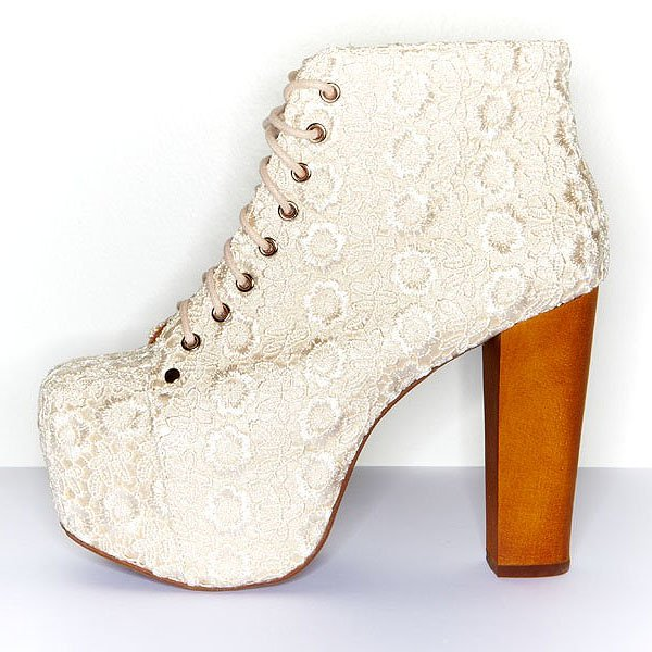 "Jeffrey Campbell ""Lita Lace"" Booties in Ivory"
