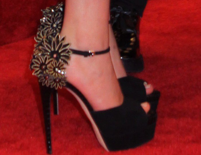 Jennifer Lawrence's decorated sandals from Brian Atwood