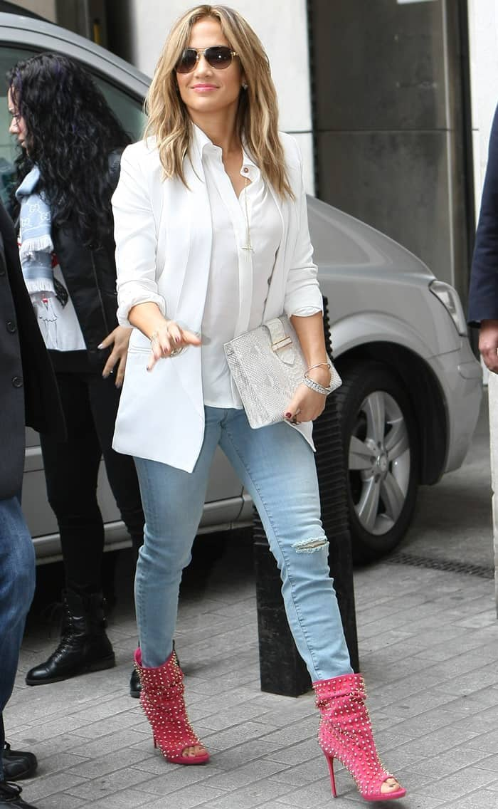 Jennifer Lopez in a conservative look for her BBC Radio 1 interview with Scott Mills in London on May 30, 2013