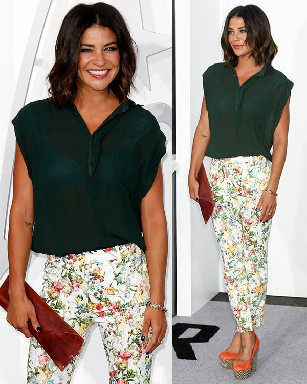 Jessica Szohr wore a sheer green top with floral pants, which are very spring-appropriate, plus she added a striking shade of orange by wearing Topshop platform pumps