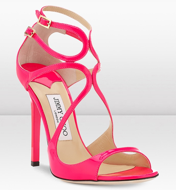"Jimmy Choo ""Lance"" Fuchsia Neon Patent Leather Sandals"