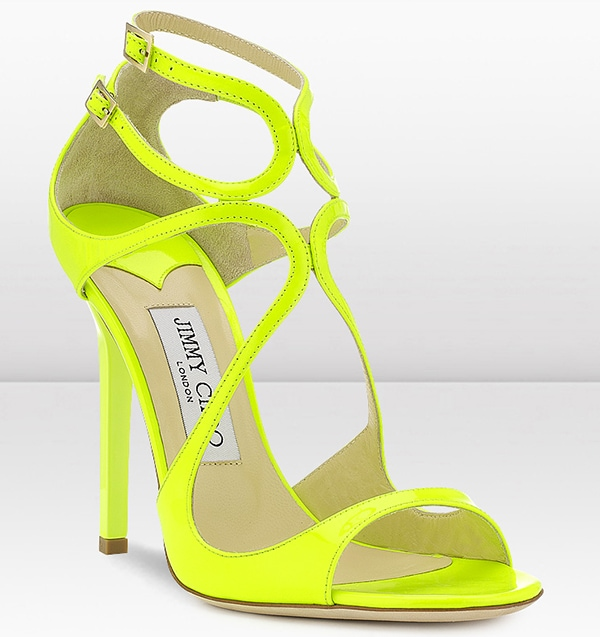 "Jimmy Choo ""Lance"" Yellow Neon Patent Leather Sandals"