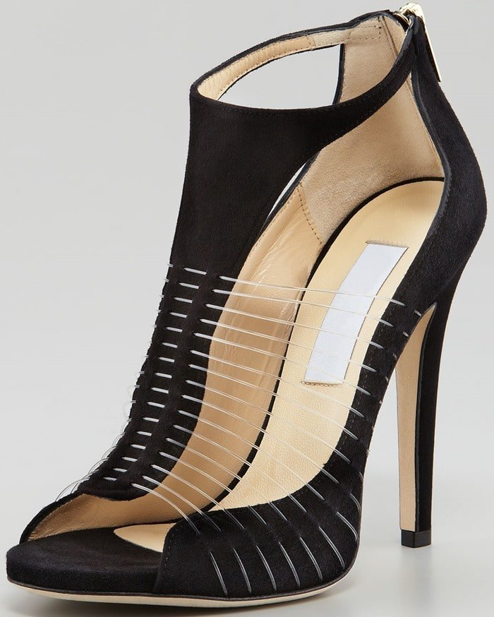 Jimmy Choo mixes textures with this black suede T-strap Taste sandal finished with invisible wire straps
