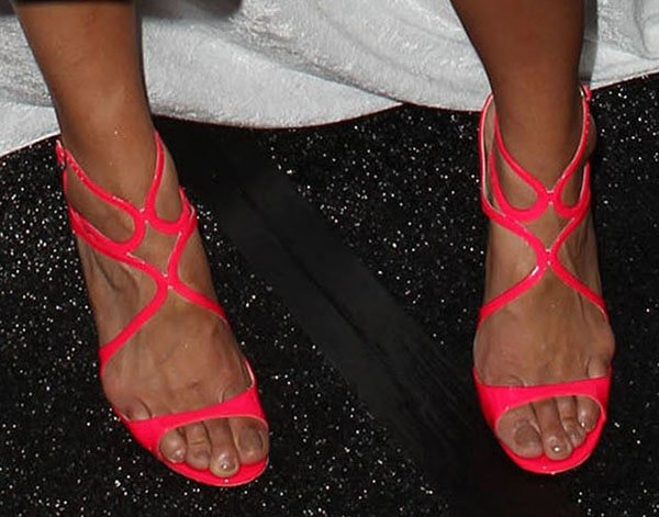 Jordin Sparks in Jimmy Choo Lance neon sandals