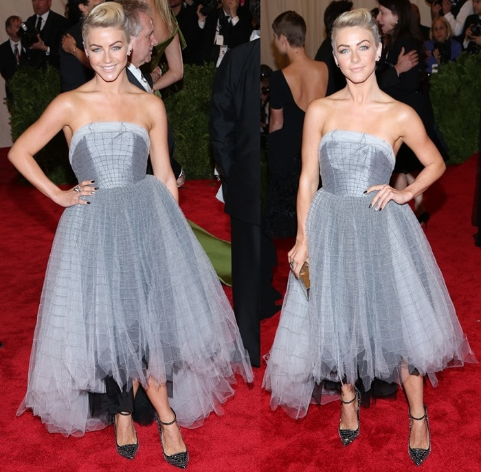 Julianne Hough in glittering Giuseppe Zanotti shoes and a silvery tea-length dress