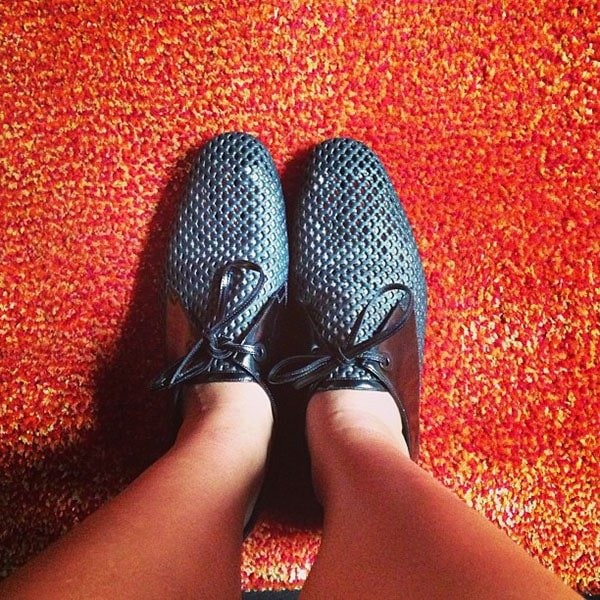 Julissa Bermudez in Balenciaga Perforated Derby Shoes