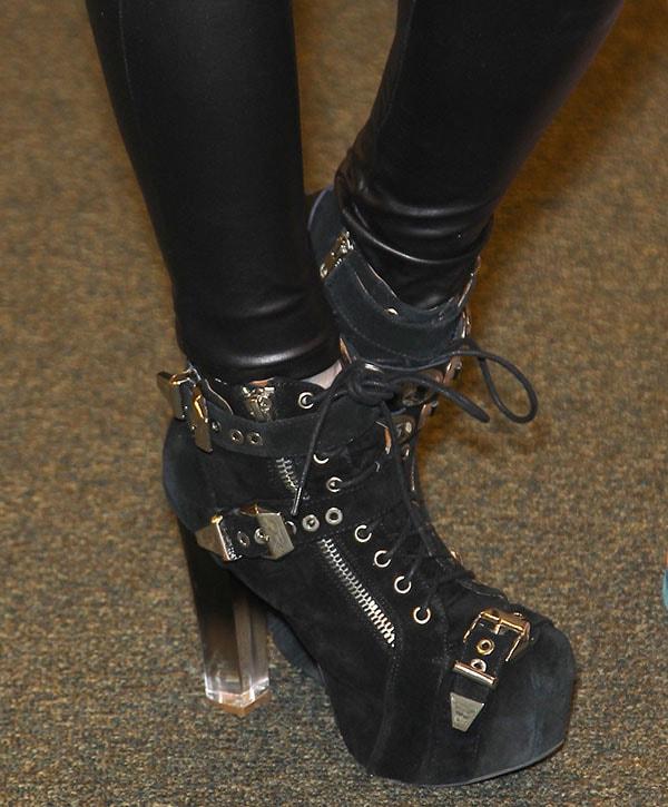 Closeups of Kat Von D's tough boots