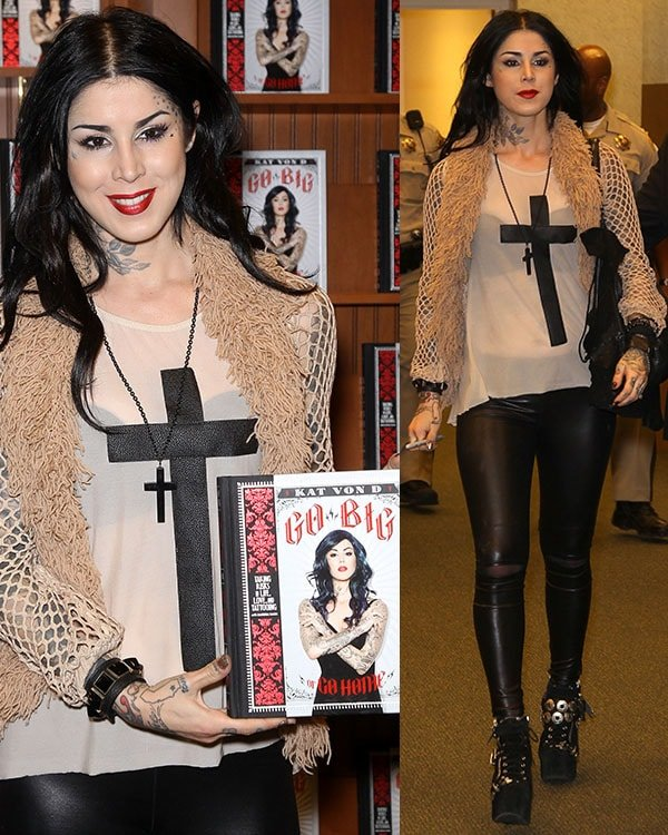 Kat Von D at the book-signing event for her new book, Go Big or Go Home, at Barnes & Noble in Las Vegas on May 26, 2013