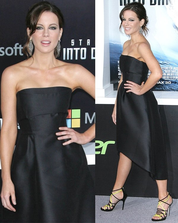 Kate Beckinsale graced the event in a simple black tube dress