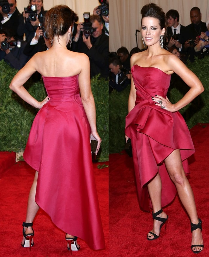 Kate Beckinsale on the red carpet at the 2013 Met Gala held at the Metropolitan Museum of Art in New York City on May 6, 2013