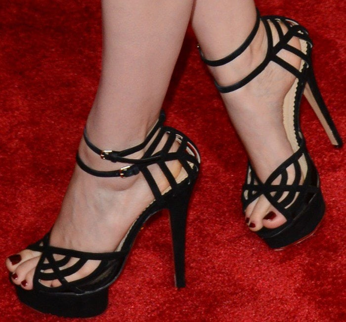 Kate Mara shows off her sexy feet in Spiderweb Octavia heels