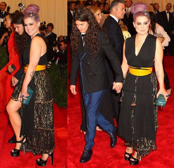 Matthew Mosshart and Kelly Osbourne on the red carpet at the 2013 Met Gala held at the Metropolitan Museum of Art in New York City on May 6, 2013