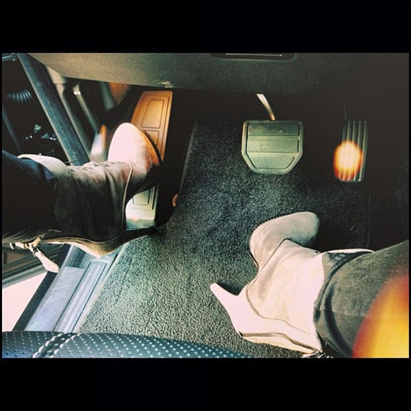 Kendall Jenner's Instagram photo where she shows off the new Alaia boots that she got as a gift from Kanye West, posted on May 29, 2013