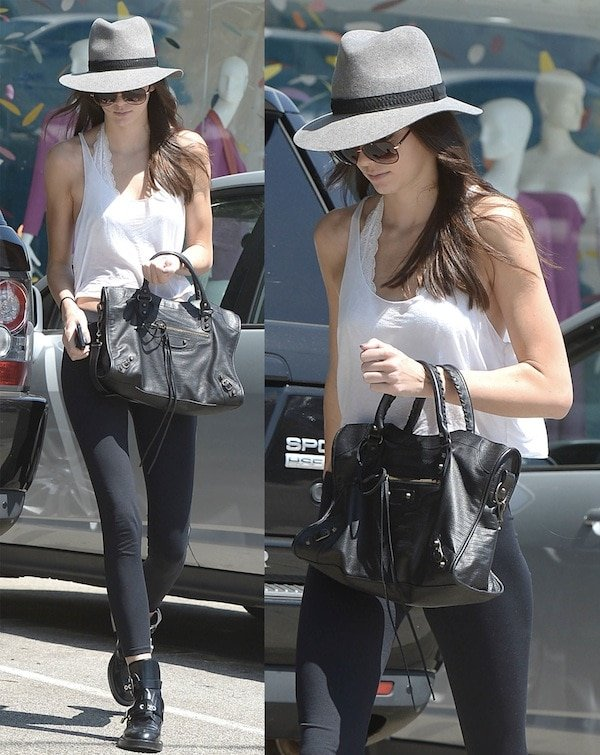 Kendall Jenner exiting a salon and heading to her car in Los Angeles