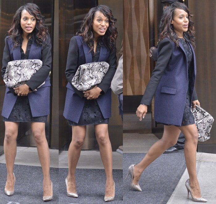 Kerry Washington was in a black lace dress with a navy-and-black blazer