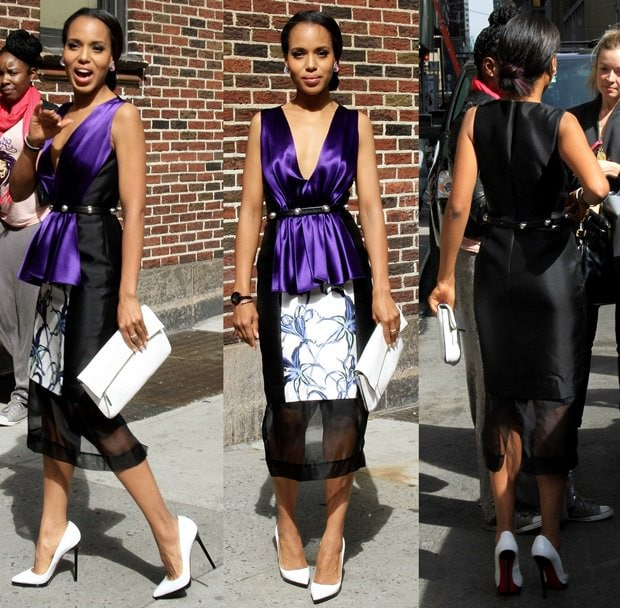Kerry Washington in a Pre-Fall 2013 Prabal Gurung dress and Christian Louboutin Pigalle Plato pumps for the Late Show with David Letterman in New York City on May 6, 2013
