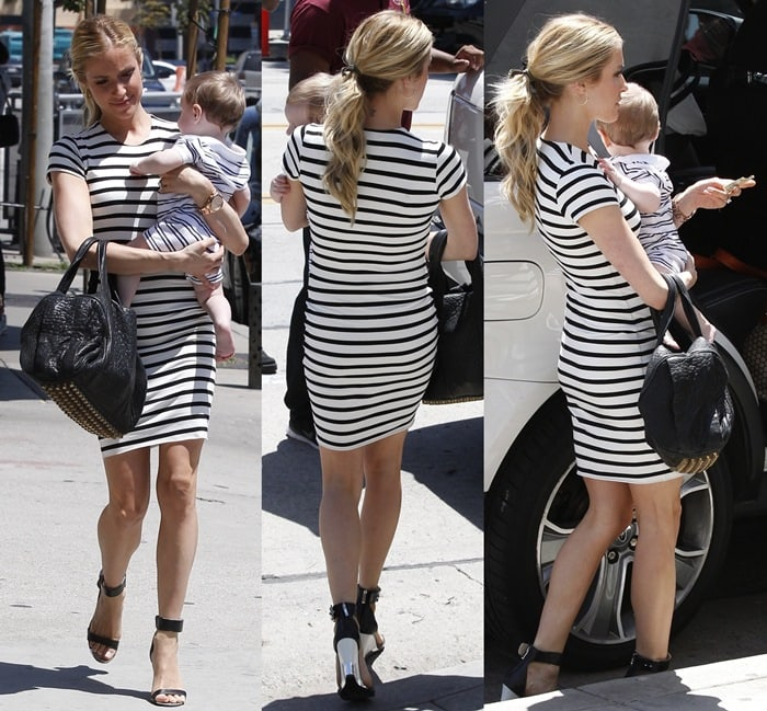 Kristin Cavallari paired her nautical look with simple but sexy ankle-strap wedge sandals