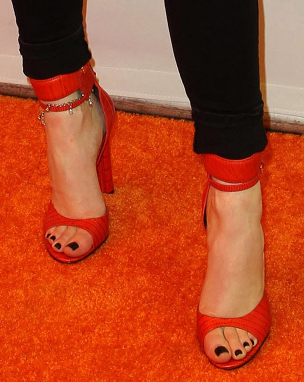Kylie Jenner displays her pretty feet in red Alexander Wang sandals