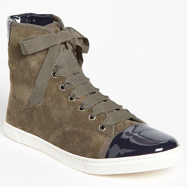 Lanvin Patent Cap-Toe High-Top Sneakers