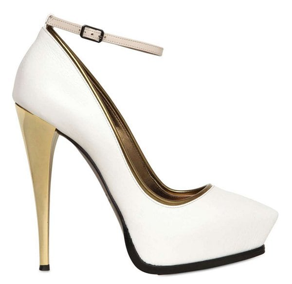 Lanvin Mirrored Heel Leather Pumps in White