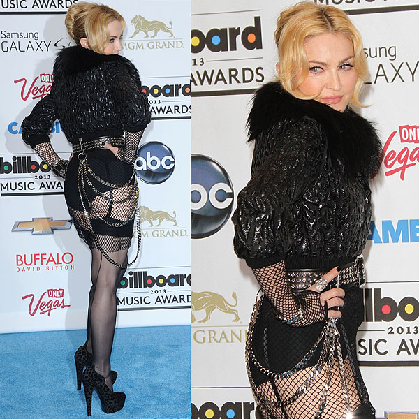 Madonna repeated almost the same no-pants look two weeks later at the 2013 Billboard Music Awards