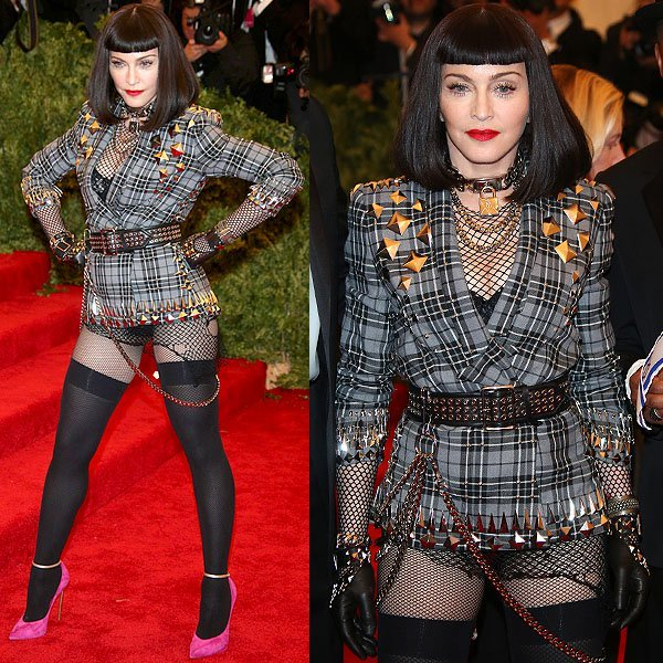 "Madonna's pantsless Givenchy ensemble at the ""Punk: Chaos to Couture"" Costume Institute Gala at the Metropolitan Museum of Art in New York City on May 6, 2013"