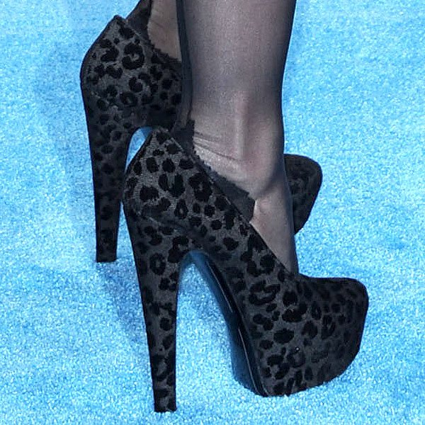 Madonna rocking black leopard platform pumps