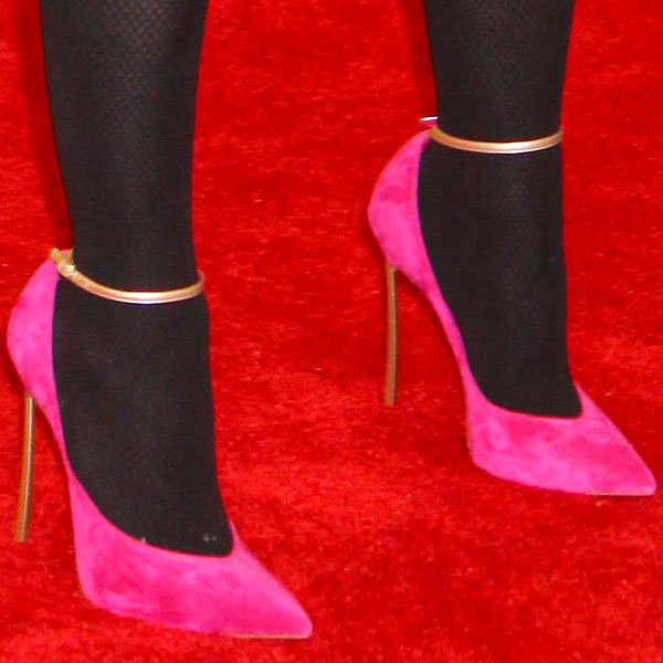 Madonna's pink suede heels