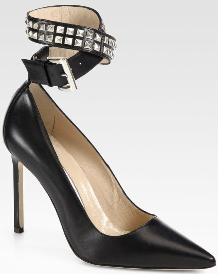 Manolo Blahnik Belta Studded Leather Ankle Strap Pumps