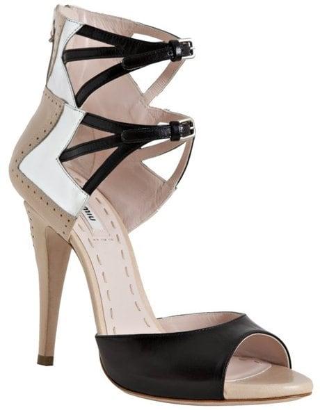 Miu Miu Nude Leather Double Ankle Strap Peep-Toe Pumps