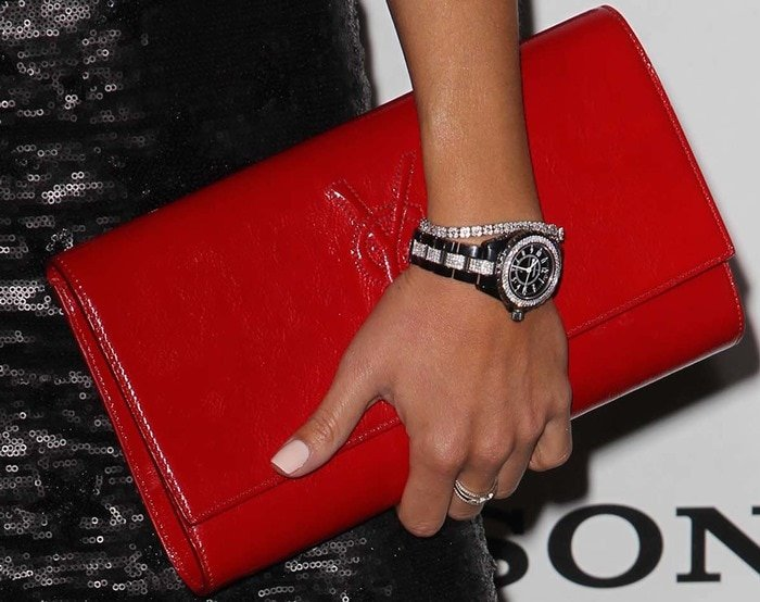 Arianny Celeste's red patent clutch from Saint Laurent