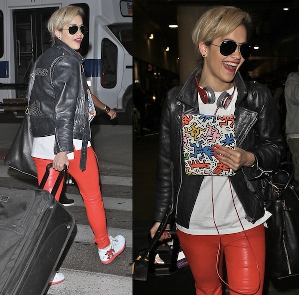 Rita Ora spotted again in her graphic Reeboks at LAX on May 4, 2013