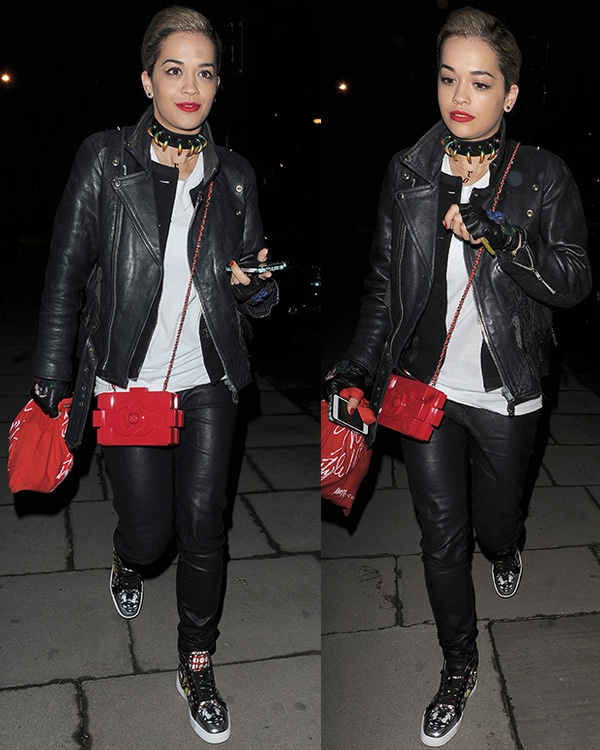 Rita Ora makes a late night visit to best friend Cara Delevingne's house on April 28, 2013